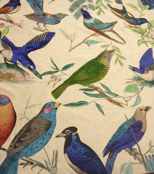 Aviary Illustration Brilliant Birds Hand Print On Linen Home Decorating Fabric Curtain Fabric Uph Fabric Linen