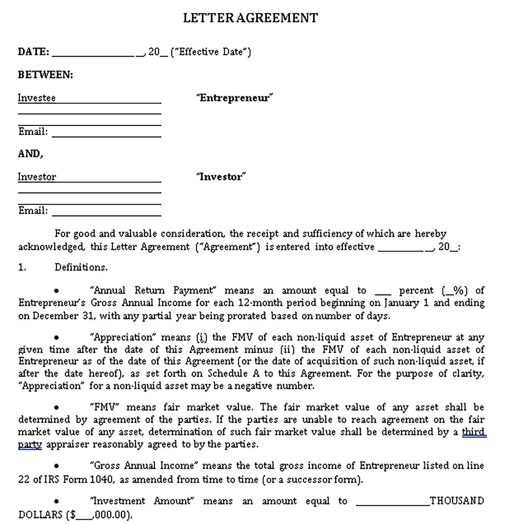 Sample Investment Agreement Template Investing Business Template Templates