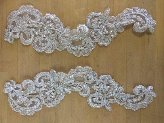 White sequin beaded appliqué u make your own dance costume