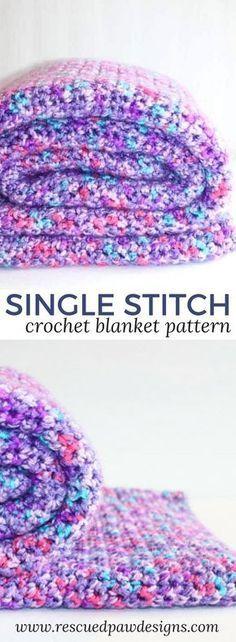 Single Crochet Blanket Pattern - Easy Single Stitch Crochet Blanket