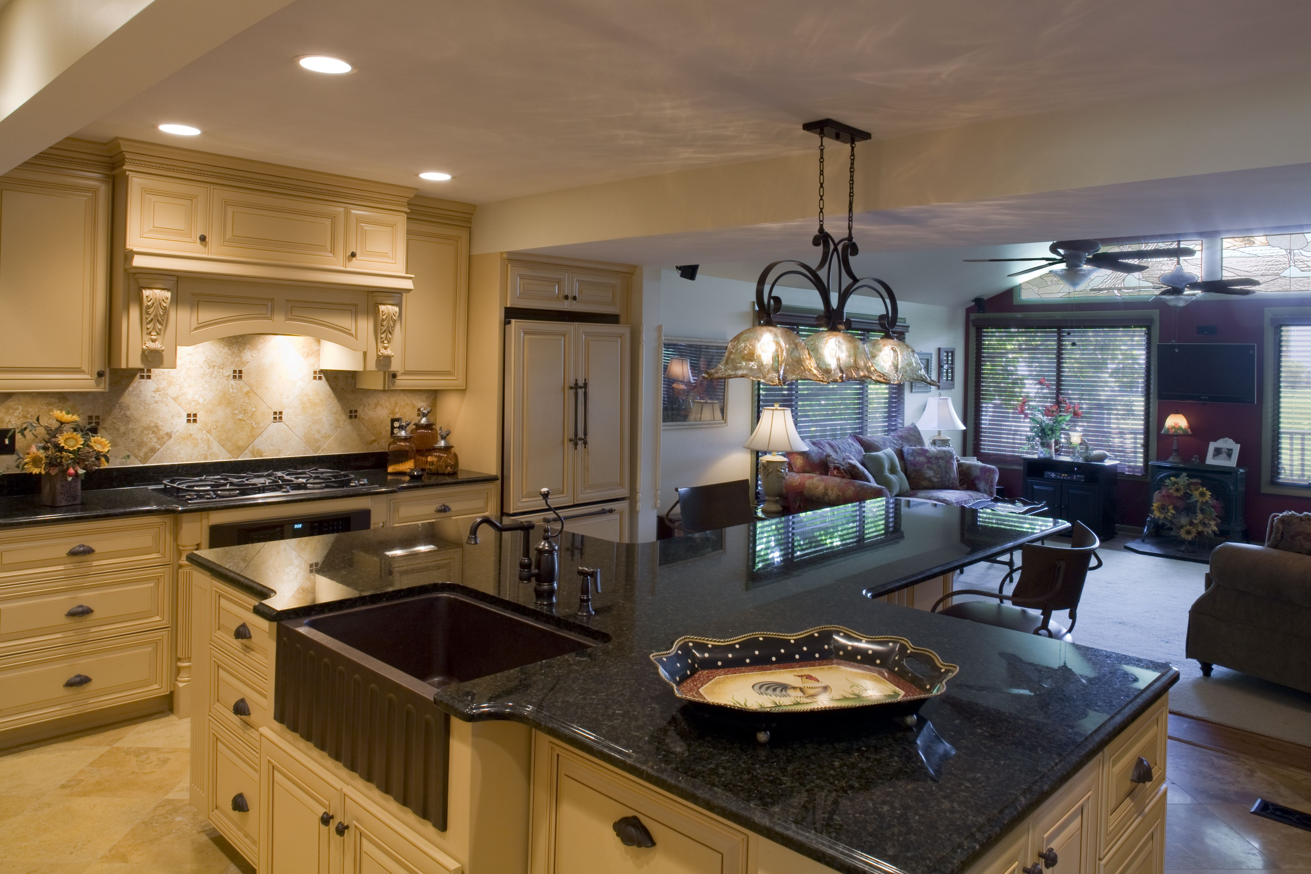 t shaped kitchen island granite counter top copper farm sink kitchen copper farm sink on t kitchen ideas id=15811