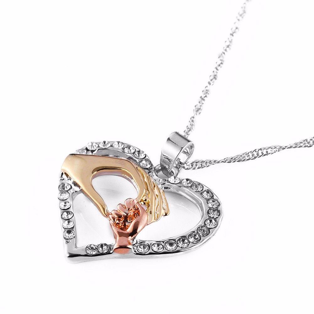 Mother Baby Infinity Heart Pendant Infinity shape necklace infinity