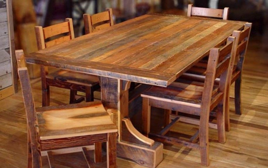 Rustic Living Room Table Sets: Wonderful Rustic Dining Room Tables Crafted Of Untreated