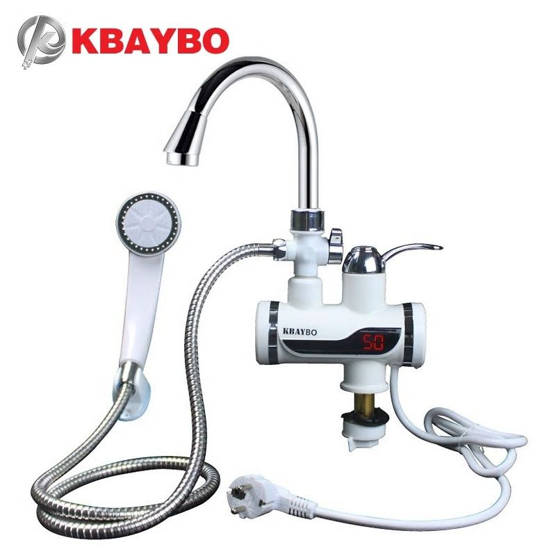 Kbaybo Instant Tankless Electric Hot Water Heater Faucet Kitchen Instant Heating Tap Eu Plug Electric Water Heater Water Heater Instantaneous Water Heater