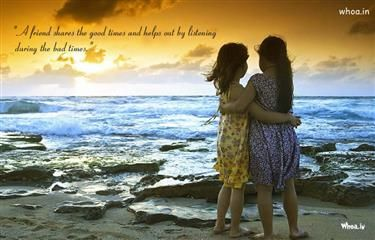 Two Girls Friendship Natural HD Wallpaper With Quote For Desktop And Mobile