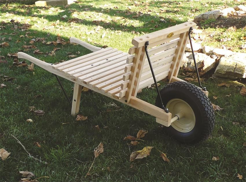Amish Open Wheelbarrow With Pneumatic Tire   Large Rustic