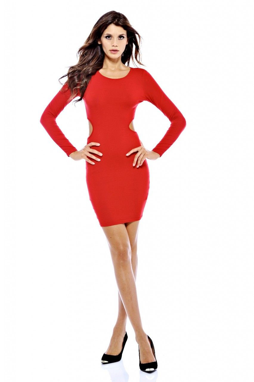 long-sleeve-red-dresses-party- | Red Party Dress | Pinterest ...