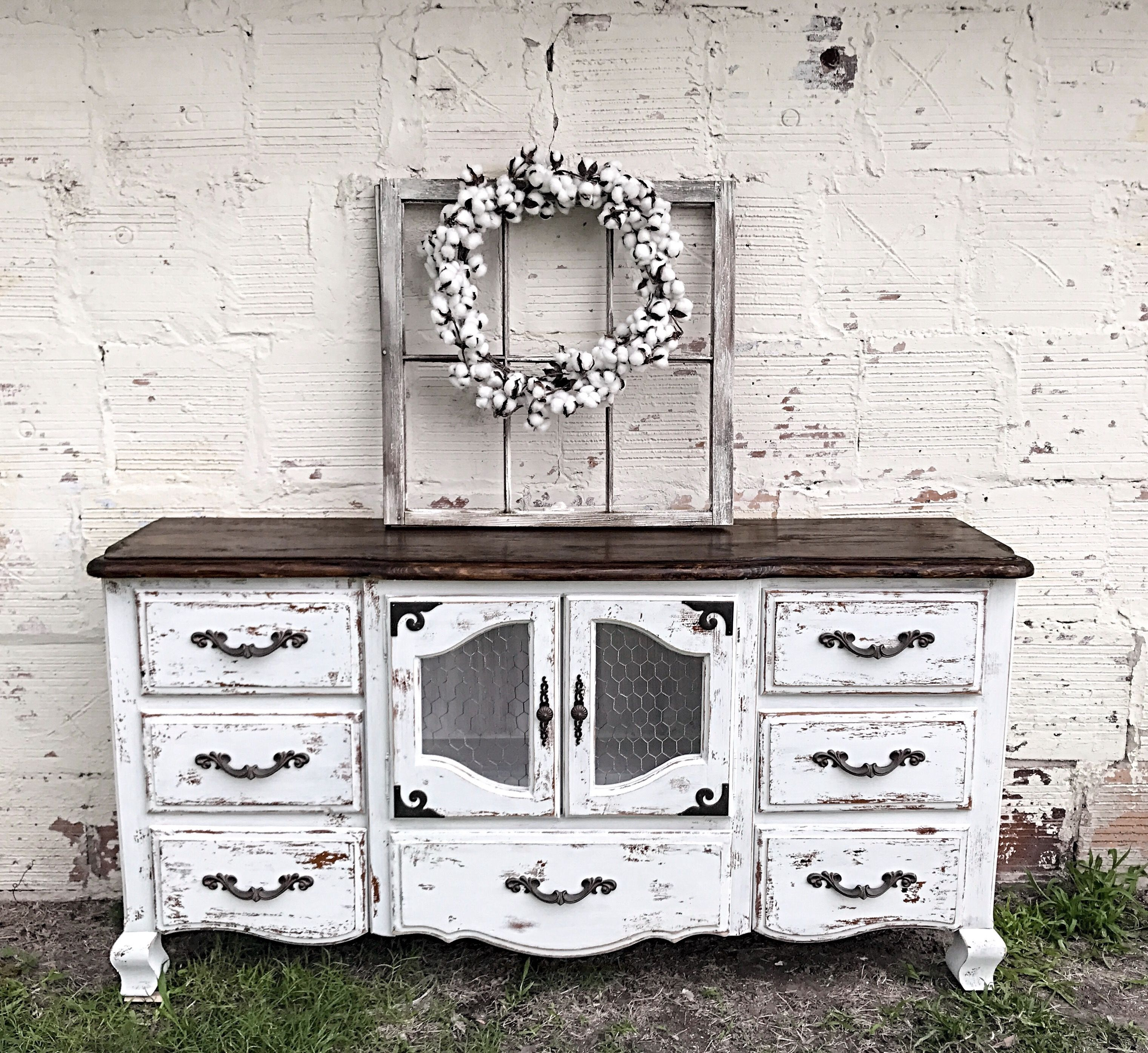 Chippy farmhouse tv stand chicken wire cabinet two tone | My pieces ...