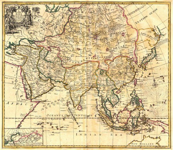 Map Of Upper Asia.Asia 1721 Atlas Showing Eastern Ocean And Indian Sea Upper Left