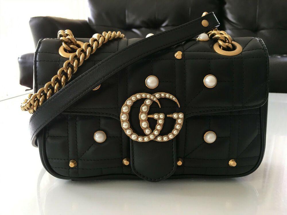 Gucci GG Marmont 2.0 Imitation Pearl Logo Matelassé