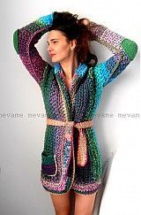 Colourful belted crochet coat/cardigan w/ elbow patches