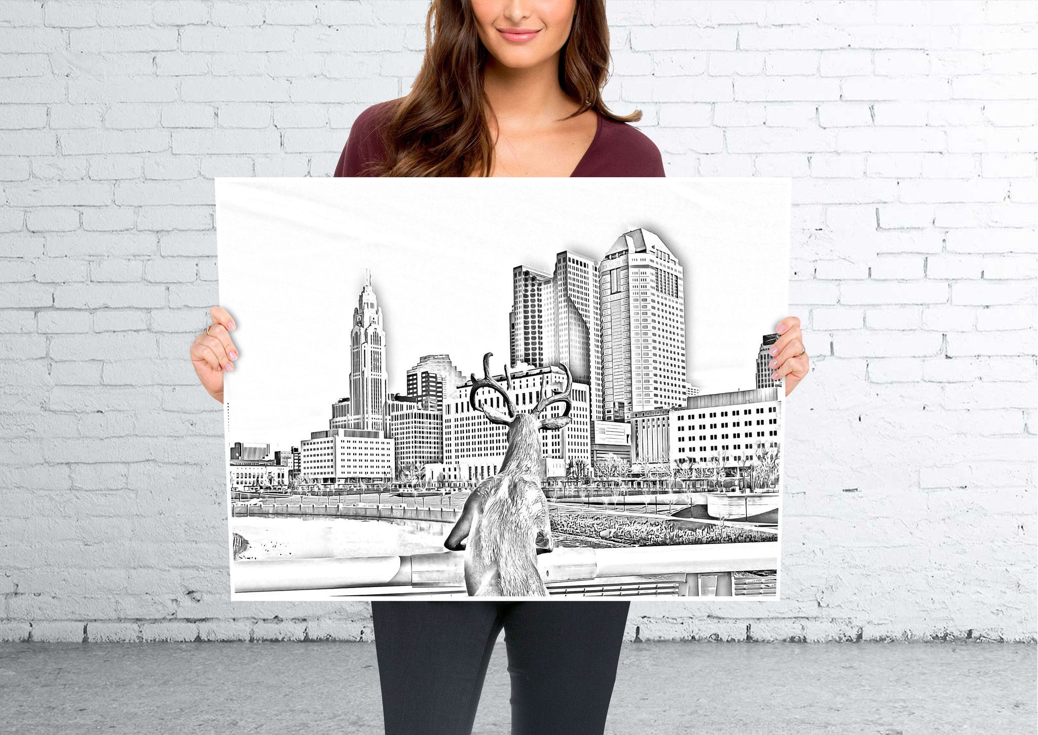 Poster Print Skyline of Columbus Sketch art Poster