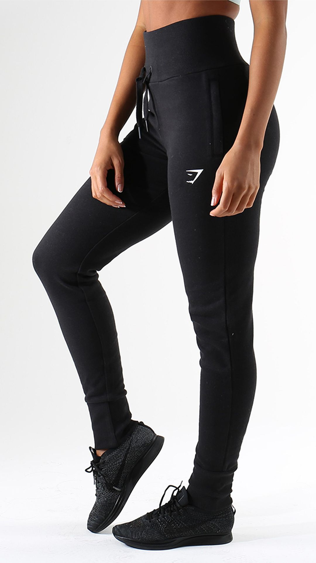 Get Luxurious Comfort From The High Waisted Joggers In Black Tailored For A High Waisted And Figure Hugging Fit Workout Attire Gym Attire Nike Outfits