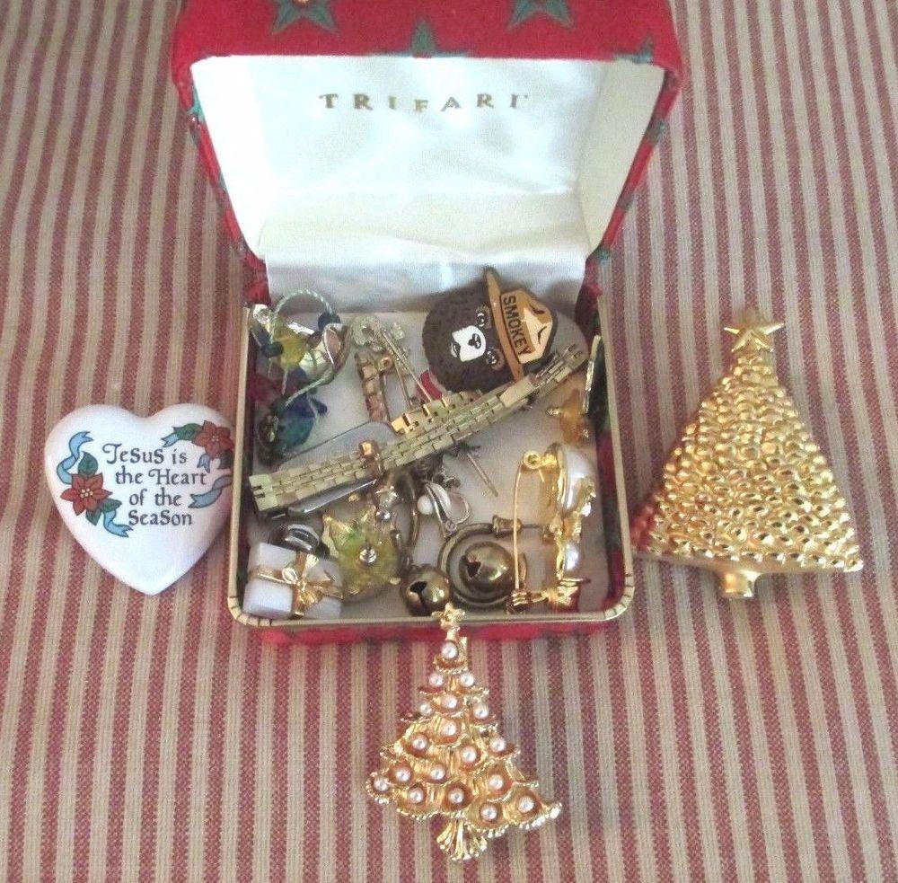 Costume Jewelry Lot Citizen watch Trifari case Christmas Junk Drawer ...