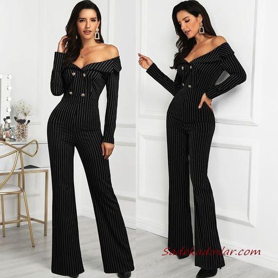 2020 Bayan Abiye Tulum Modelleri Siyah Omzu Acik Uzun Kollu Islemeli 2020 Moda Stilleri Uzun Kollu Moda