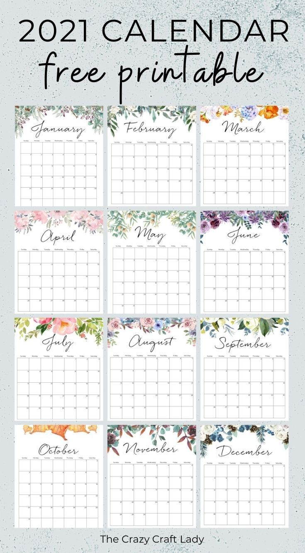 2021 Free Printable Floral Wall Calendar