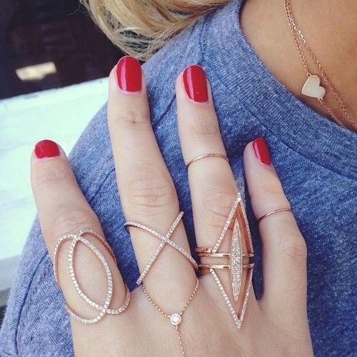 RUBY STELLA 14k gold diamond ring diamond x ring diamond