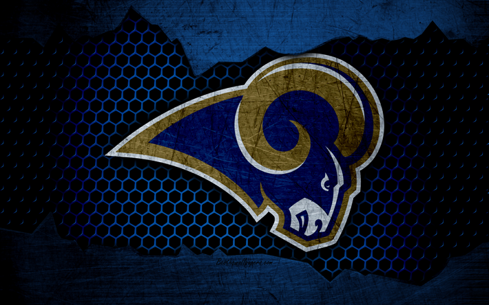 Download wallpapers Los Angeles Rams, 4k, logo, NFL, american football, NFC, USA, grunge, metal texture, West Division