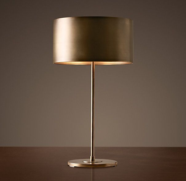 Restoration Hardware Antiqued Metal Drum Table Lamp In