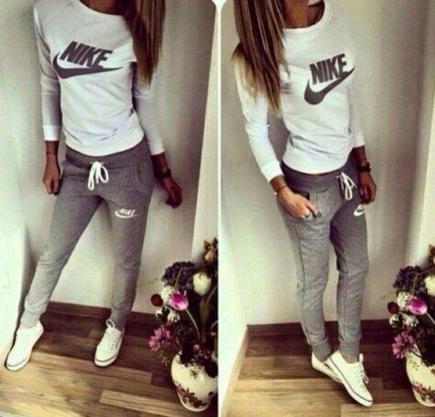 shirt nike converse white joggers grey swag teenagers tumblr · Nike Women's  ShoesNike ...