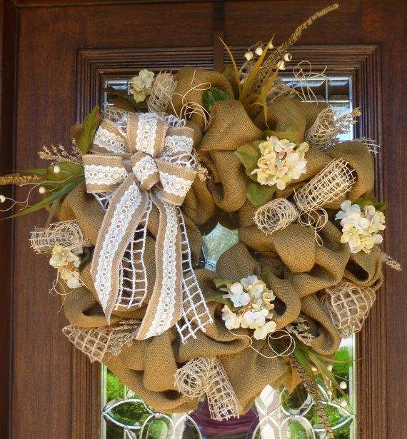 BURLAP Wreath with LACE BOW by decoglitz on Etsy