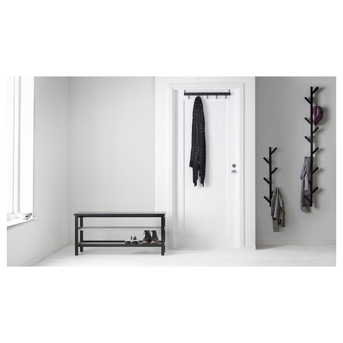 Ikea Tjusig Black Hanger In 2020 Bench With Shoe Storage Shoe