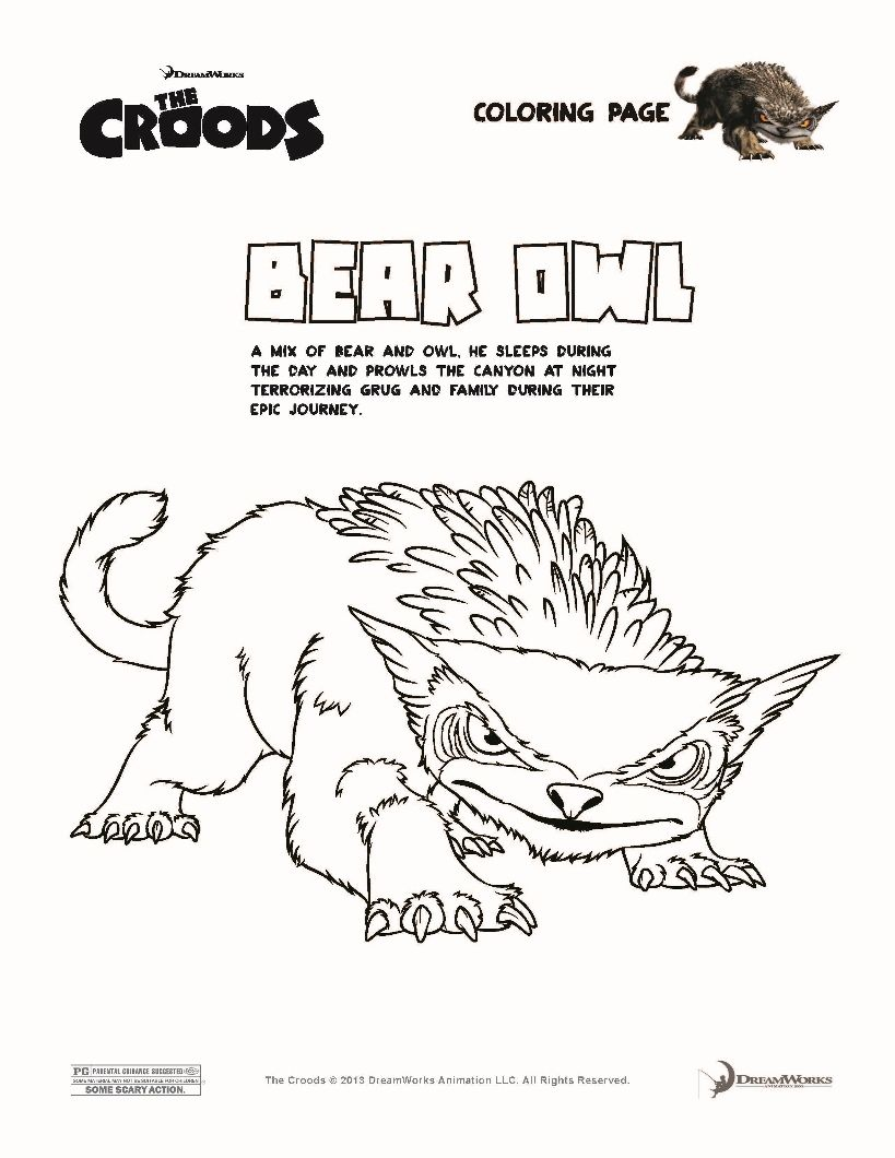 BEAR OWL The Croods coloring page | Coloring Book | Pinterest | Owl ...