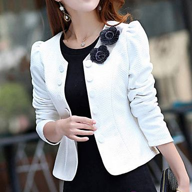 8 99 Women S Short Solid Colored Daily Sophisticated Plus Size White Black Fuchsia S M L Work Chaquetas Chaquetas Mujer Trajes Elegantes