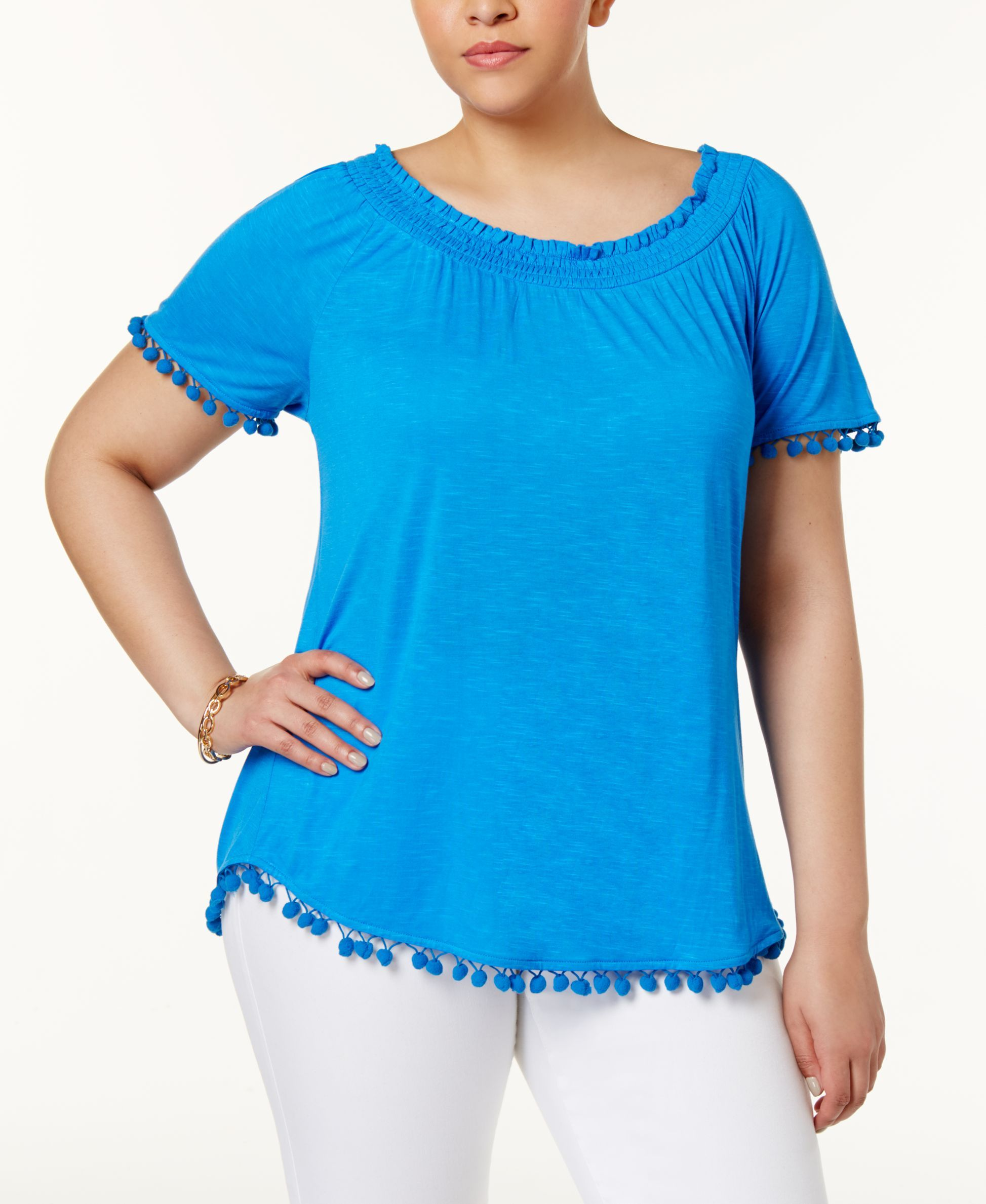 e527569a2d760 Inc International Concepts Plus Size Popsicle Pom-Pom Top