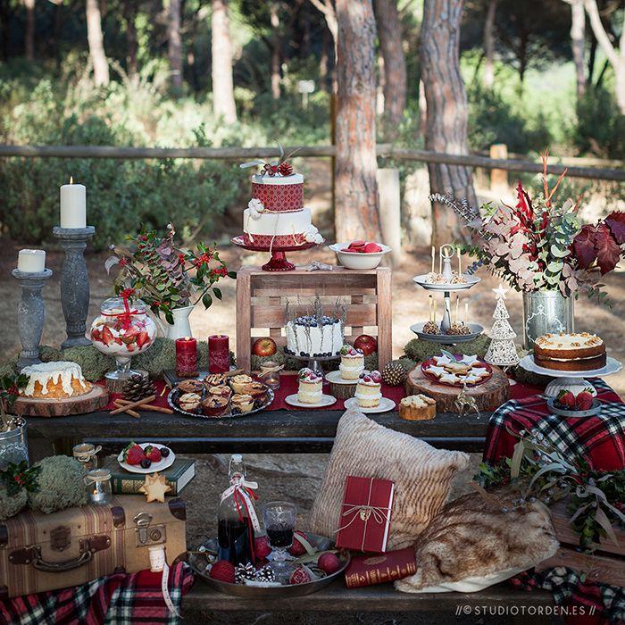 Insp rate mesa dulce navide a en el campo mesas dulces - Decoracion navidena rustica ...