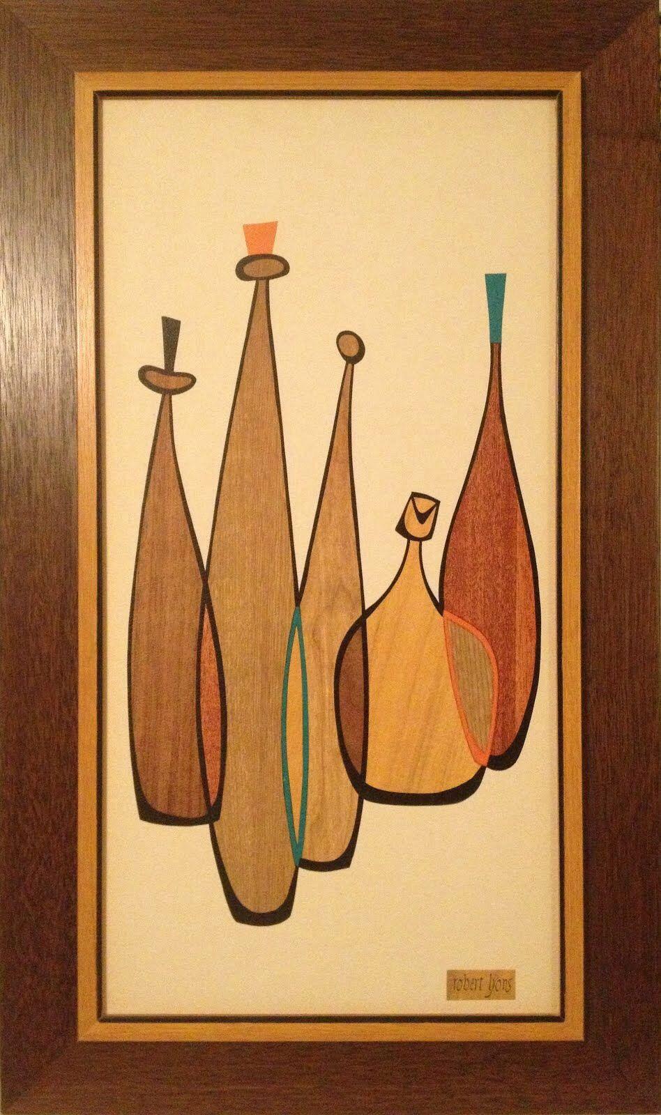 J lyon wood inlay mid century art mid century modern