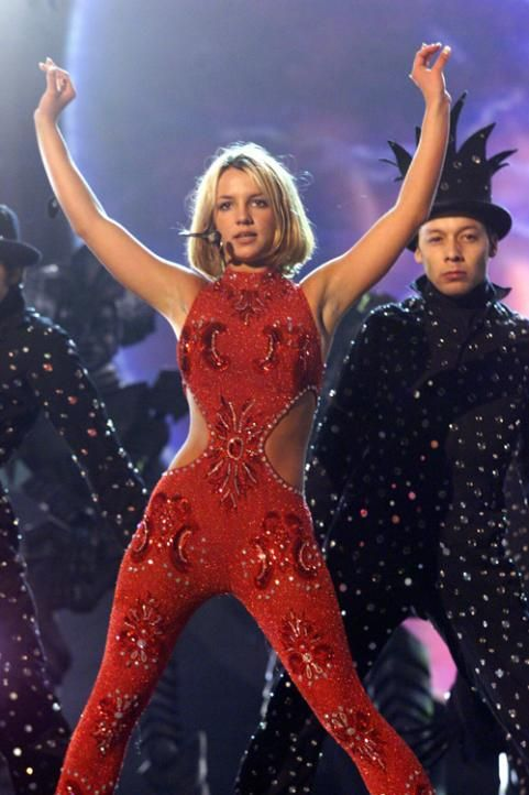 Britney Spears performs at the Grammy's held in Los Angeles, California on February 25, 2000.