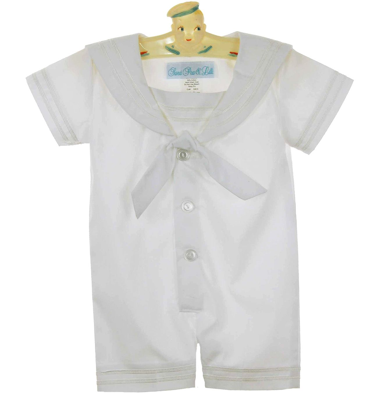NEW Swea' Pea and Lilli White Sailor Suit with White Braid Trim and Matching Hat $45.00