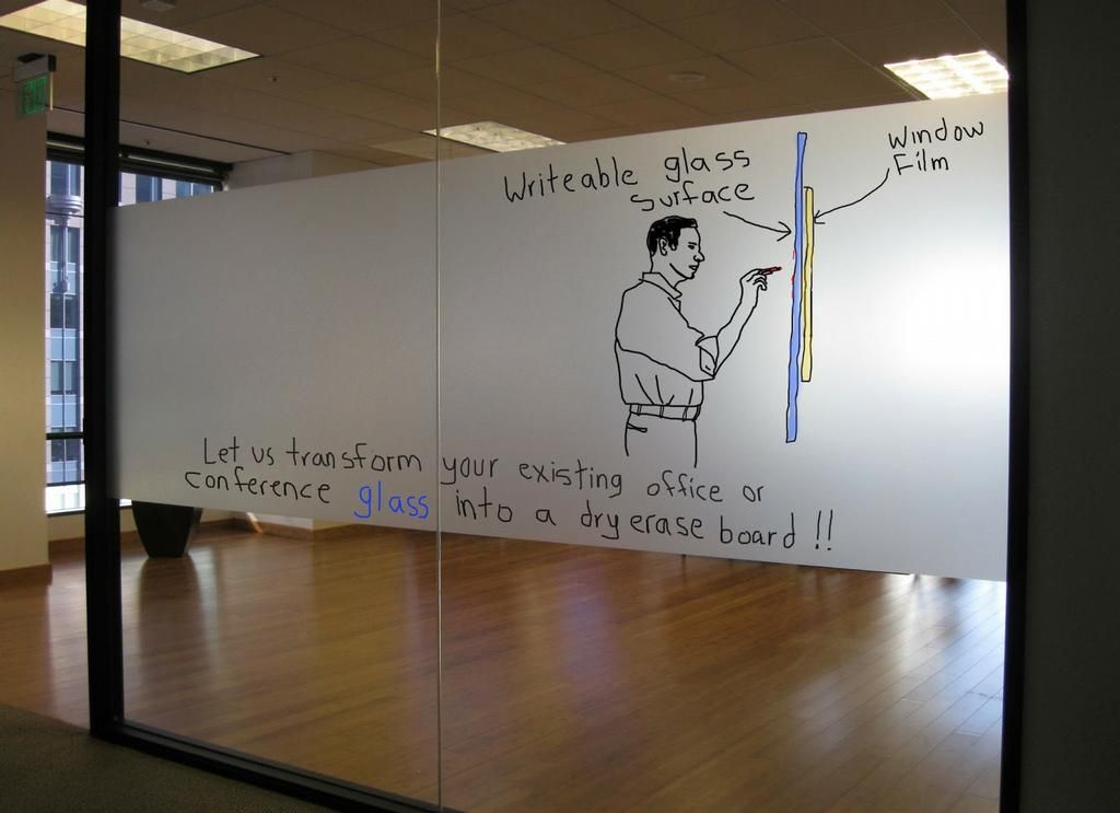 Glass whiteboard band by reflections glass tinting inc for Office whiteboard ideas