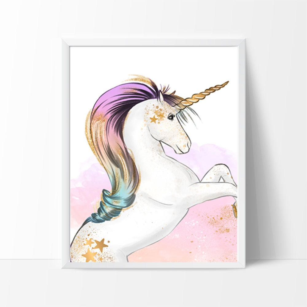 Kids Wall Decor Unicorn Nursery Bedroom Wall Prints Choice of Size and Style