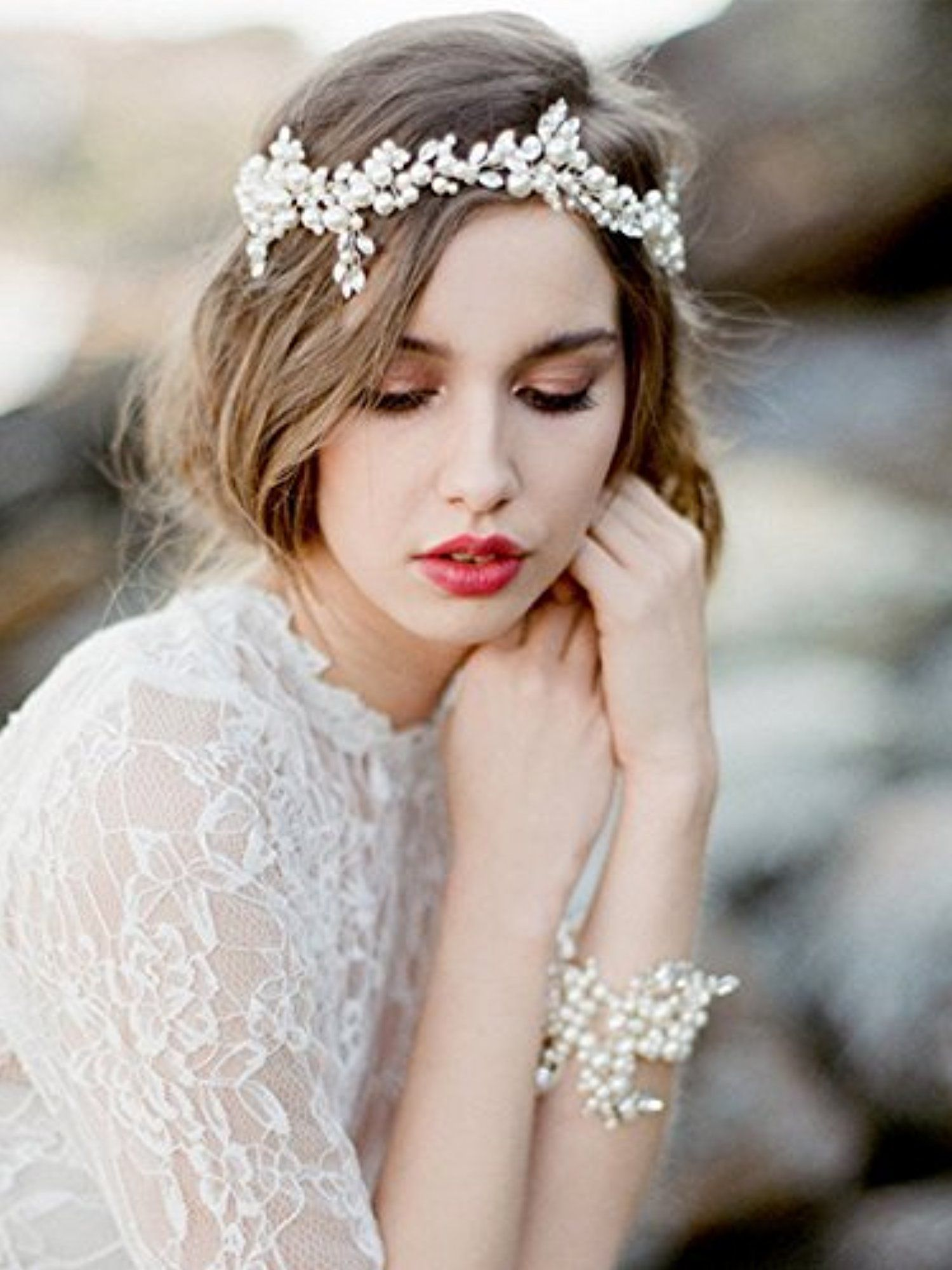 Venusvi wedding headbands for bride bridal headpiece with bead and