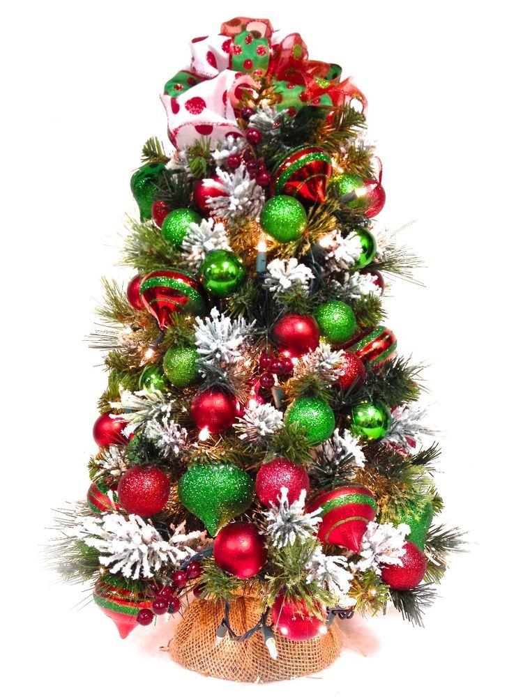 Sold New Tabletop Christmas Tree Pre Lit Red Green White