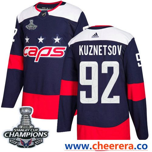 5dce00d25 Adidas Washington Capitals #92 Evgeny Kuznetsov Navy Authentic 2018 Stadium  Series Stanley Cup Final Champions Stitched NHL Jersey