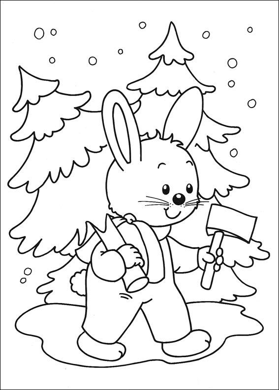 Christmas Coloring Pages Rabbit With Christmas Tree In The Hands Coloring Page Coloring P Christmas Coloring Pages Christmas Coloring Sheets Coloring Pages