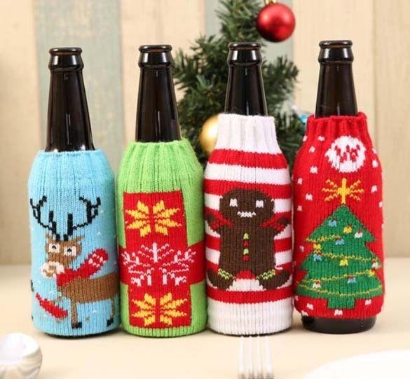 Decorate Beer Bottles For Christmas Fair Christmas Wine Bottle Bag Knitting Stocking Home Table Kitchen Decorating Design