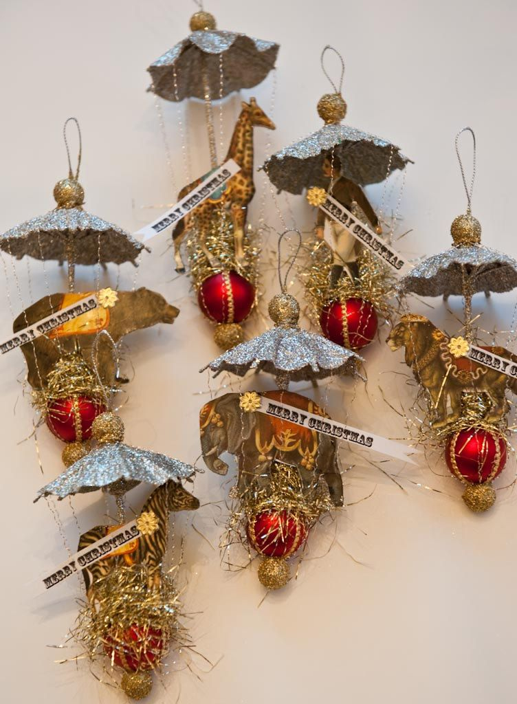 Vintage Circus Animals And Ringmaster Dresden Victorian Inspired Christmas Ornament Set Christmas Ornament Sets Victorian Christmas Ornaments Vintage Christmas Ornaments