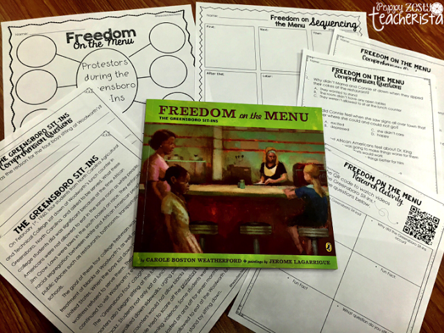 Freedom on the Menu! A great read aloud to help introduce The Greensboro Sit-Ins!