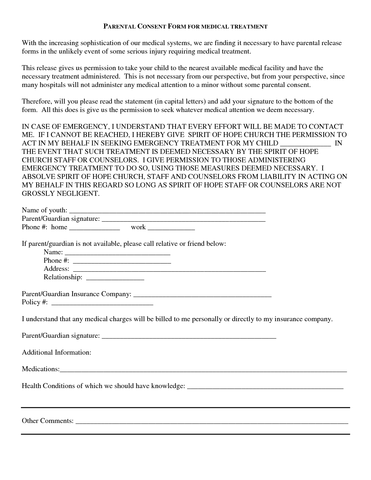 Superb Medical Consent Release Form | Bagnas   Parental Consent Form For Medical  Treatment