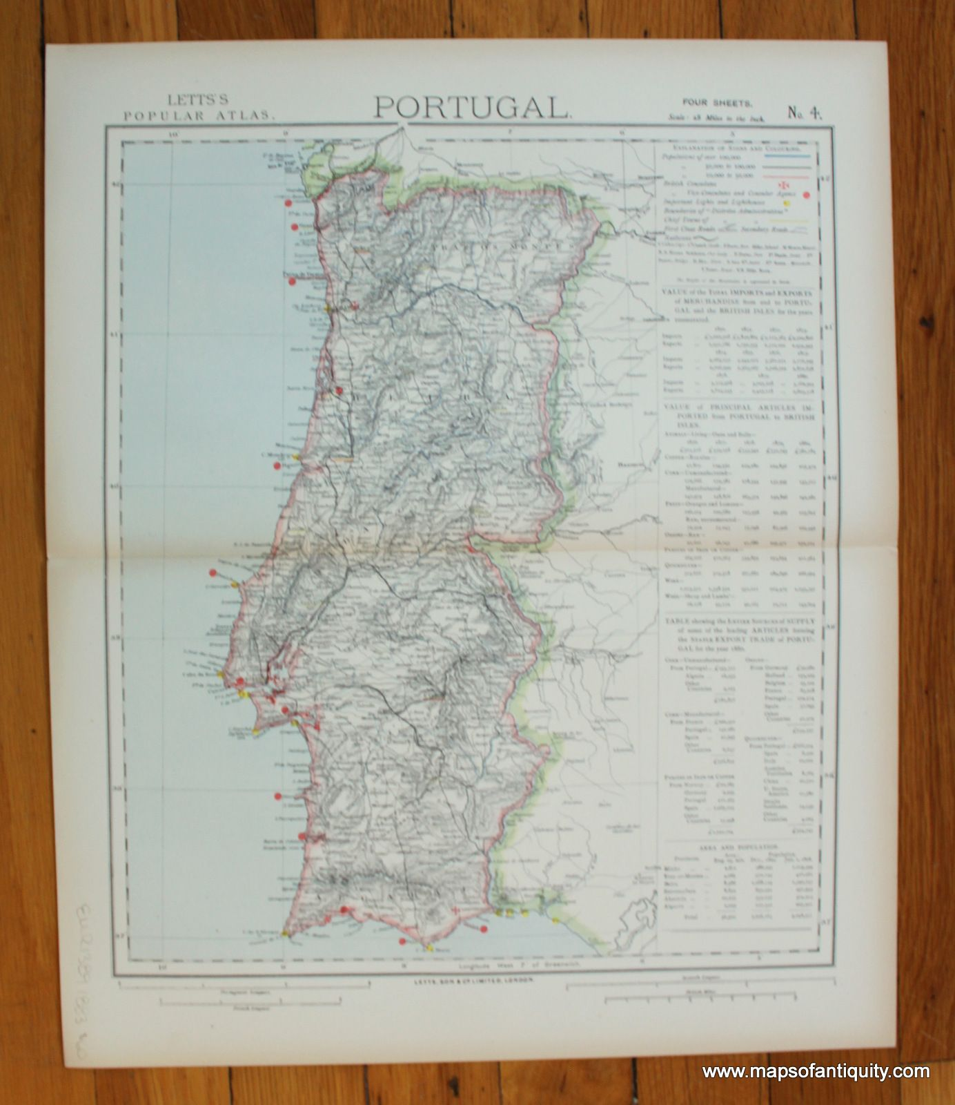 Map Of Spain Portugal%0A Portugal  Four of Four  Antique Maps and Charts  u     Original  Vintage  Rare