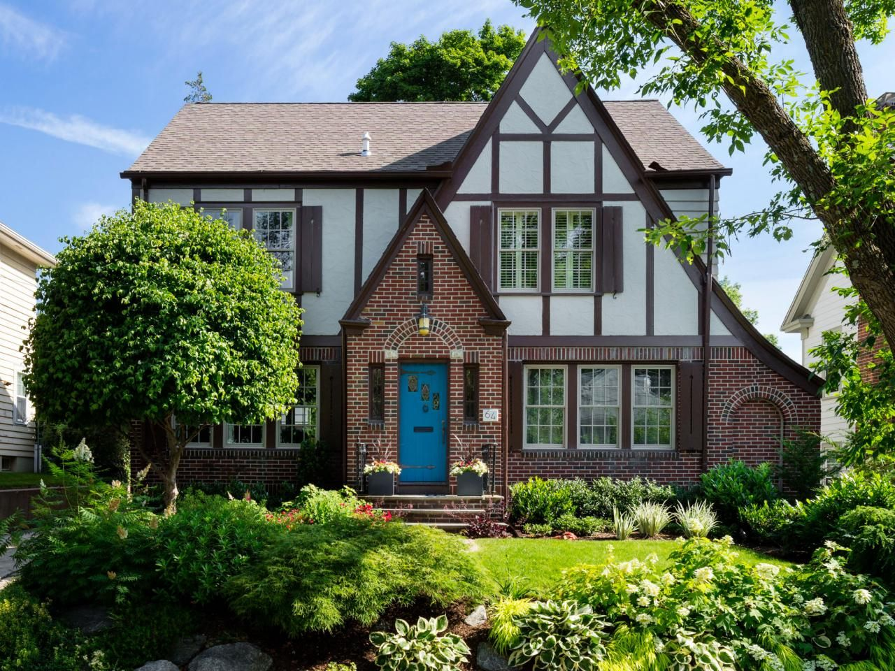 Super Brown and cream windows. Blue door. Shutters. | English Tudor  ID64