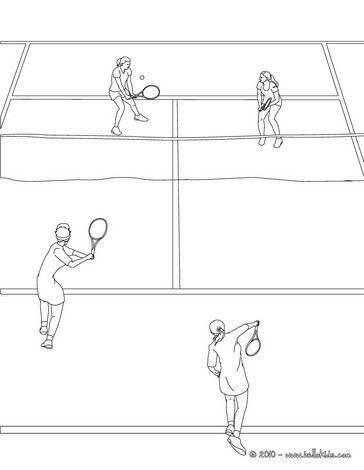 Tennis court with 4 players coloring page. More sports coloring ...