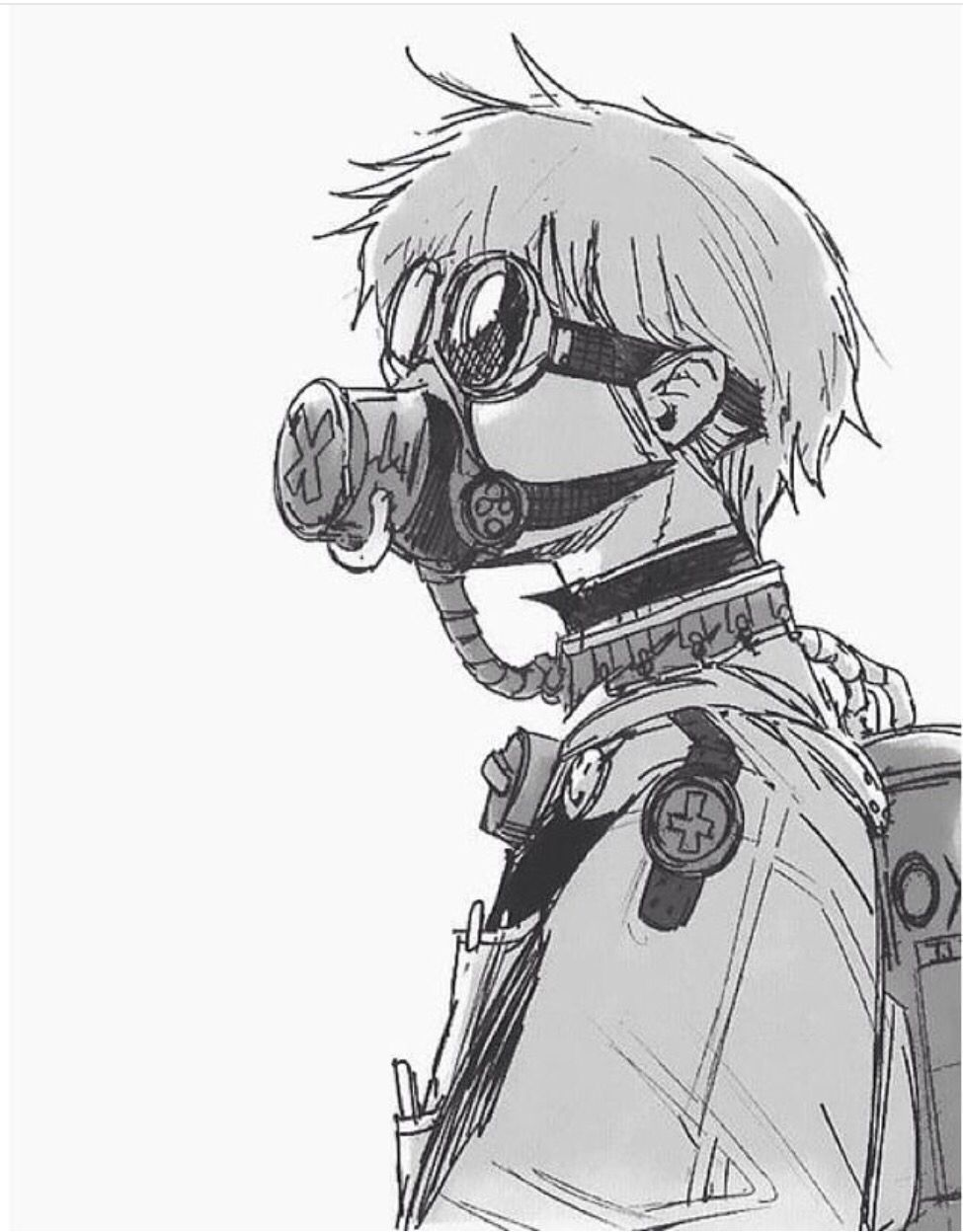 Kaneki anime art manga anime otaku gas mask drawing manga