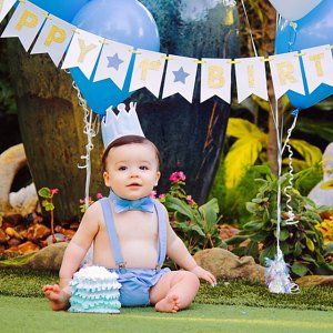 37e9db301 Boys cake smash outfit white and light blue in 2019 | joseph's first ...