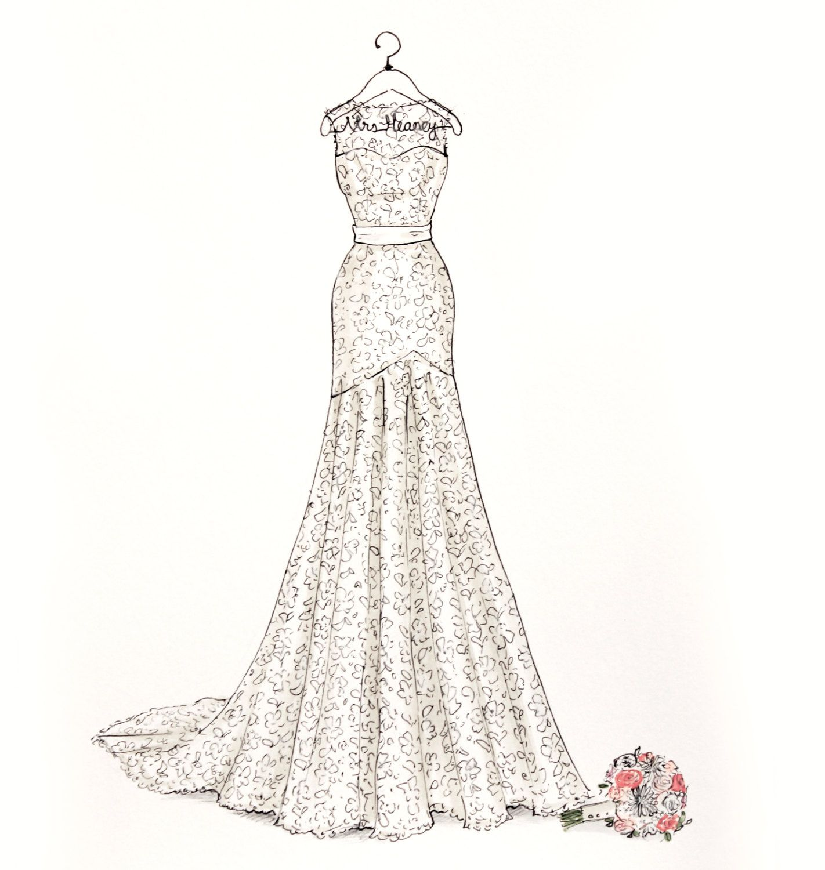 Custom wedding dress sketch by drawthedress on etsy dessin