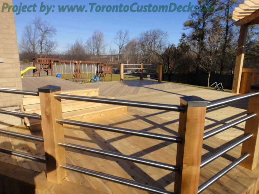 Deck railings made from long tube of steel. #Deck design # ...